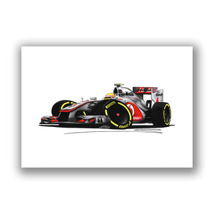 2012 - McLaren MP4-27 - Lewis Hamilton - Caricature F1 Car Art Print
