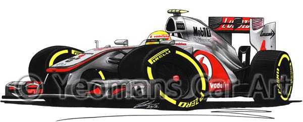 2012 - McLaren MP4-27 - Lewis Hamilton - Caricature F1 Car Art Mug