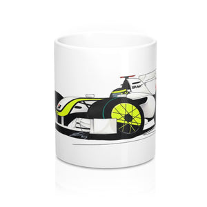 2009 - Brawn GP - Jenson Button - Caricature F1 Car Art Mug