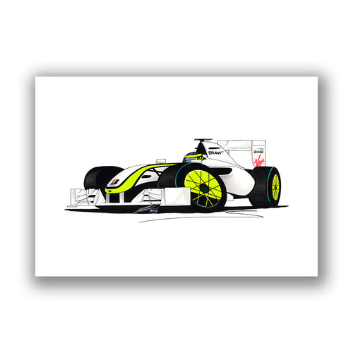 2009 - Brawn GP - Jenson Button - Caricature F1 Car Art Print