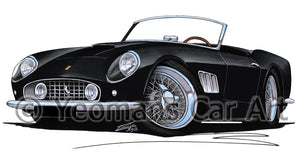 Ferrari 250 GT California - Caricature Car Art Print