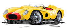 Load image into Gallery viewer, Ferrari 250 Testa Rossa (Racer) - Caricature Car Art Print