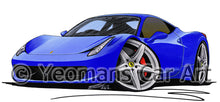 Load image into Gallery viewer, Ferrari 458 Italia - Caricature Car Art Print