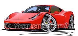 Ferrari 458 Italia - Caricature Car Art Print