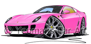 Ferrari 599 - Caricature Car Art Print