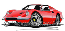 Load image into Gallery viewer, Ferrari Dino 246 GT Convertible - Caricature Car Art Print