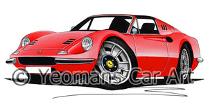 Ferrari Dino 246 GT Convertible - Caricature Car Art Print