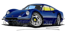 Load image into Gallery viewer, Ferrari Dino 246 GT - Caricature Car Art Print