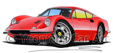 Load image into Gallery viewer, Ferrari Dino 246 GT - Caricature Car Art Coffee Mug