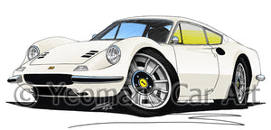Ferrari Dino 246 GT - Caricature Car Art Print
