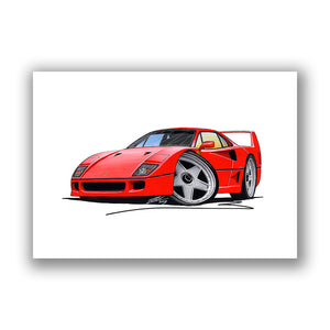Ferrari F40 - Caricature Car Art Print