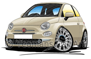 Fiat 500 (Facelift) - Caricature Car Art Print