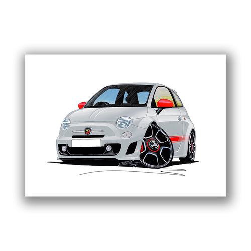 Fiat 500 Abarth - Caricature Car Art Print