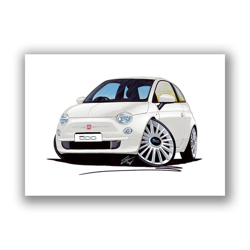 Fiat 500 - Caricature Car Art Print