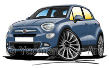 Load image into Gallery viewer, Fiat 500x City - Caricature Car Art Print