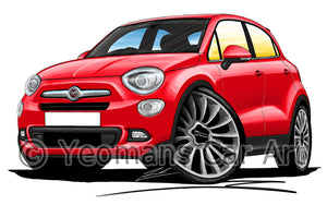Fiat 500x City - Caricature Car Art Print