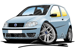 Fiat Punto (Mk2)(Facelift) - Caricature Car Art Print