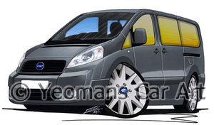 Fiat Scudo - Caricature Car Art Print