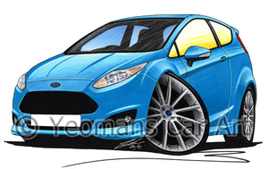 Ford Fiesta (Mk7)(Facelift) Zetec S - Caricature Car Art Print