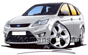 Ford Focus (Mk2)(Facelift) ST (5dr) - Caricature Car Art Print