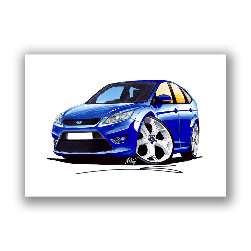 PERSONALISE IT! CAR ART PRINT PICTURE SIZE A4 FORD FOCUS ST MK2 FACELIFT
