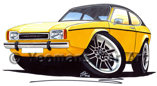 Ford Capri (Mk2) - Caricature Car Art Print