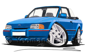 Ford Escort (Mk4) XR3i Cabriolet - Caricature Car Art Print