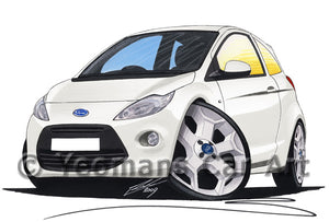 Ford Ka (Mk2) - Caricature Car Art Print