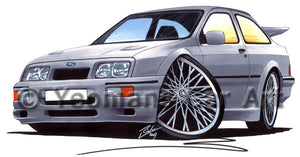 Ford Sierra Cosworth - Caricature Car Art Print