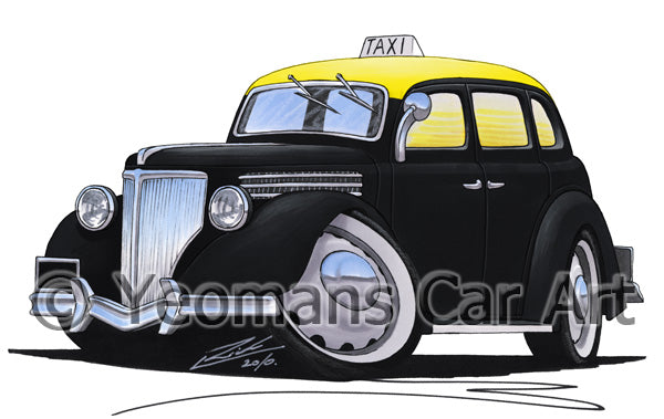 Ford V8 Taxi (Montevideo) - Caricature Car Art Print