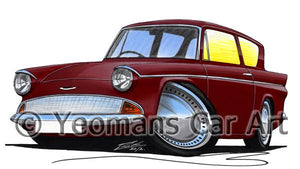 Ford Anglia 105e - Caricature Car Art Coffee Mug
