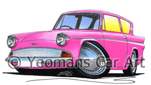 Ford Anglia 105e - Caricature Car Art Print