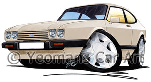 Ford Capri (Mk3) - Caricature Car Art Print