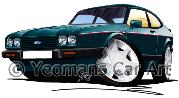 Ford Capri (Mk3) 280 Brooklands - Caricature Car Art Print