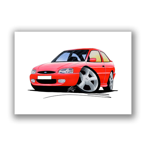 Ford Escort (Mk7) GTi (3dr) - Caricature Car Art Print