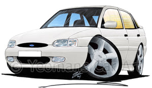 Ford Escort (Mk7) GTi (5dr) - Caricature Car Art Print