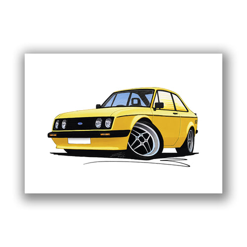Ford Escort (Mk2) RS2000 - Caricature Car Art Print