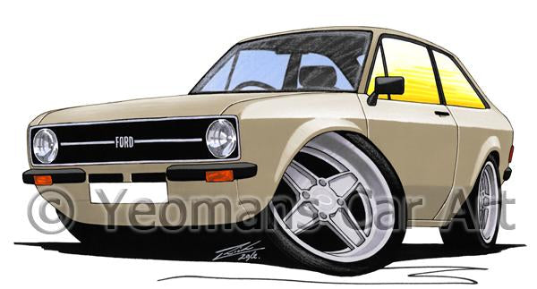 Ford Escort (Mk2) - Caricature Car Art Coffee Mug