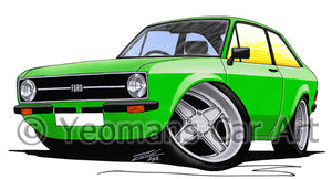 Ford Escort (Mk2) - Caricature Car Art Print