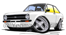 Load image into Gallery viewer, Ford Escort (Mk2) - Caricature Car Art Print