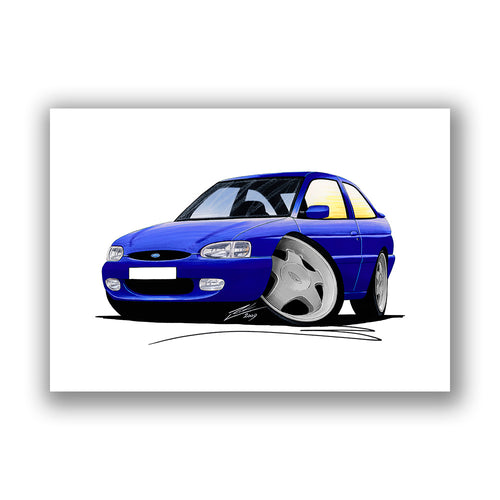 Ford Escort (Mk7) Si - Caricature Car Art Print
