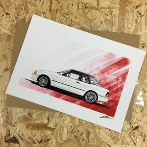 Ford Escort XR3i Cabriolet (with roof up) (White) - Roadside Icons Art Print
