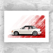 Load image into Gallery viewer, Ford Escort XR3i Cabriolet (with roof up) (White) - Roadside Icons Art Print