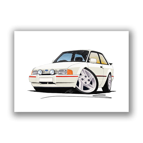 Ford Escort (Mk4) XR3i - Caricature Car Art Print
