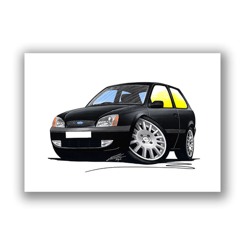 Ford Fiesta (Mk5) Black Edition - Caricature Car Art Print