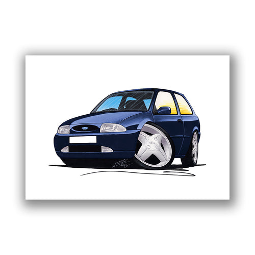 Ford Fiesta (Mk4) - Caricature Car Art Print