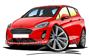 Ford Fiesta (Mk8) (5dr) - Caricature Car Art Print