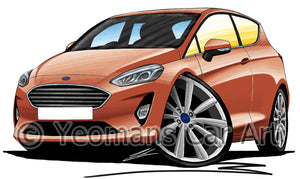 Ford Fiesta (Mk8) (3dr) - Caricature Car Art Print