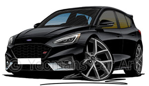 Ford Focus (Mk4) ST - Caricature Car Art Print