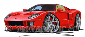Ford GT - Caricature Car Art Print